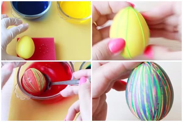как сделать полосатые яйца к Пасхе