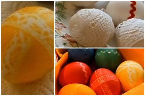 как сделать кружевные узоры на яйцах