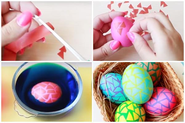 окрашивание яиц с помощью скотча