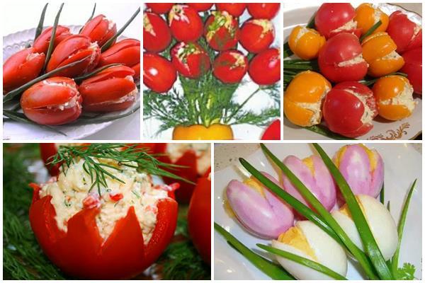салат, оформленный в виде тюльпанов