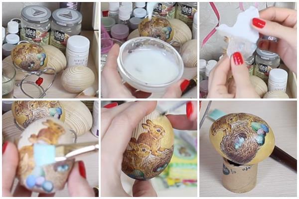 декупаж деревянного яйца