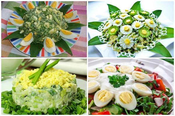 как украсить салат из черемши, огурцов и яиц