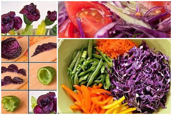 как украсить салат из краснокочанной капусты
