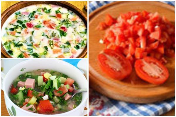 рецепты окрошки с помидорами