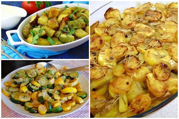гарнир из запеченных картофеля и кабачков
