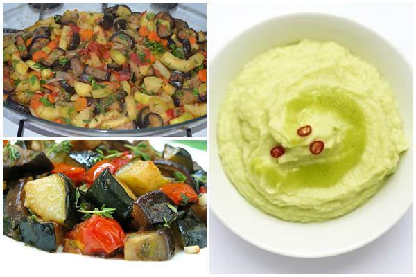 соте и пюре из кабачков и других овощей