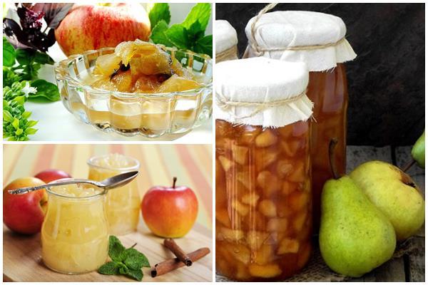 яблочное и грушевое варенье с мятным вкусом