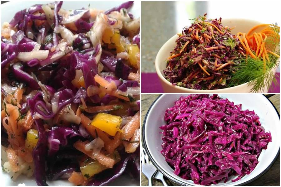 зимний салат из краснокочанной капусты