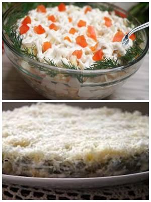 слоеный салат без майонеза