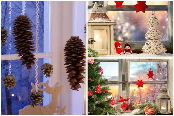 как можно оформить окна к Рождеству