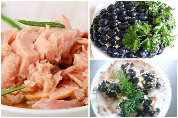 салат в форме шишки с тунцом и маслинами