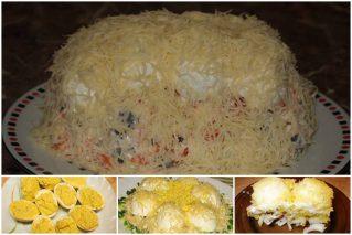 Салат «Сугроб» на праздничный стол: рецепты с мясом, курицей, рыбой