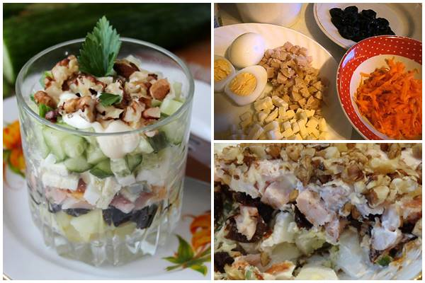 как приготовить салат с курицей, черносливом и орехами