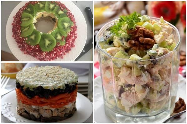 как украсить салат с курицей, черносливом и орехами