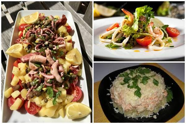 как украсить салат из кальмаров