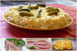 Салат «Каприз» с языком, ветчиной и грибами: рецепты, советы по приготовлению и оформлению