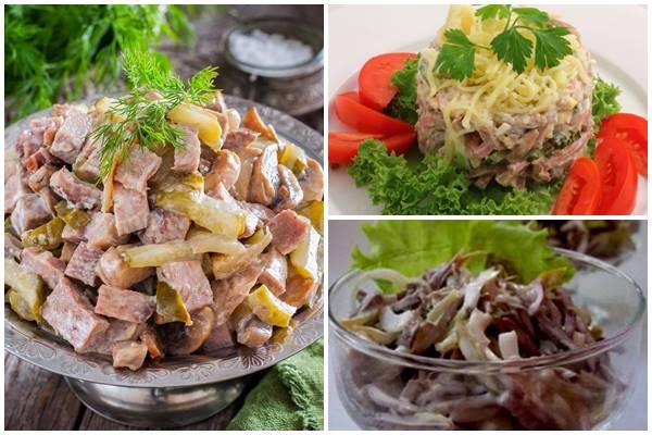 салат из языка с вешенками