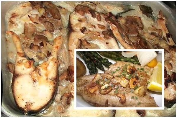 стейки зубатки с грибами