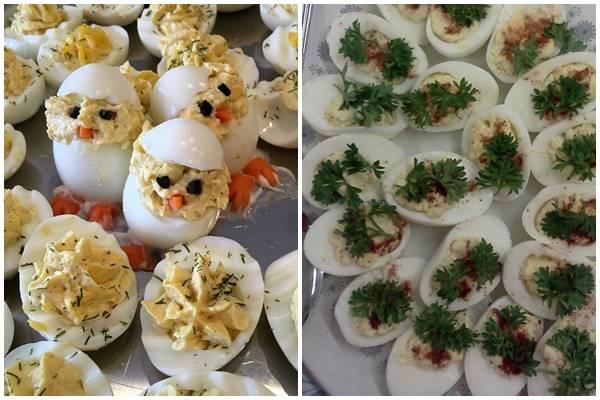 варианты оформления и подачи фаршированных яиц к столу