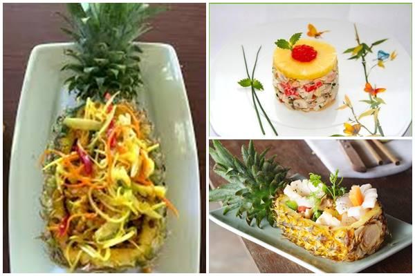 как украсить салат с кальмарами и ананасами