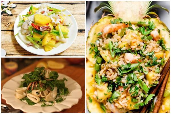 салаты с кальмарами и ананасами