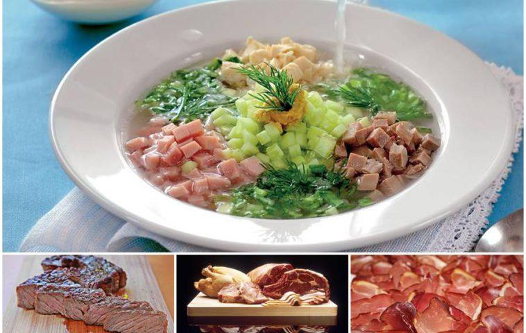 Окрошка с мясом на квасе и на кефире: классические и современные рецепты