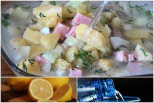 Окрошка на воде: рецепты с уксусом, лимоном, лимонной кислотой