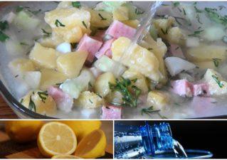 окроршка на воде с лимоном