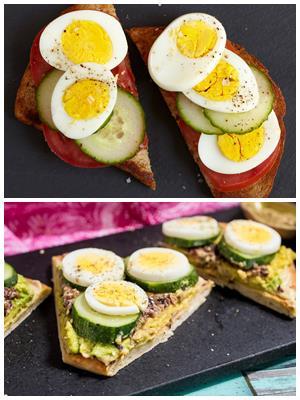 тосты с яйцом и огурцом