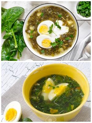 суп с вареным яйцом