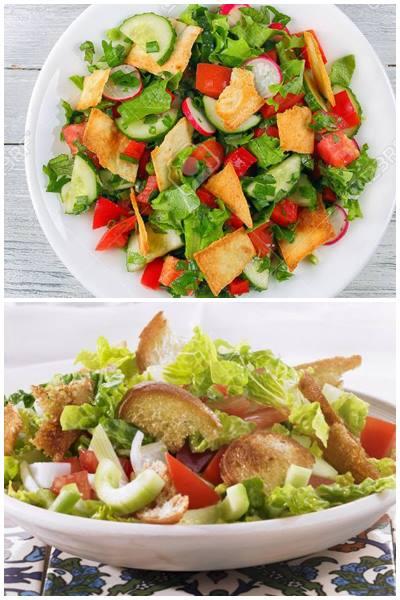 салат с засохшим лавашем или батоном