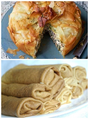 пирог и блины с начинкой из яиц
