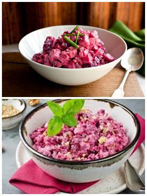салат из свеклы и отварной курицы