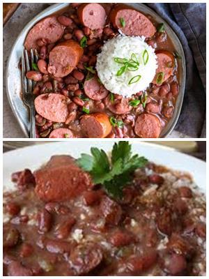 красная фасоль с копчеными колбасками