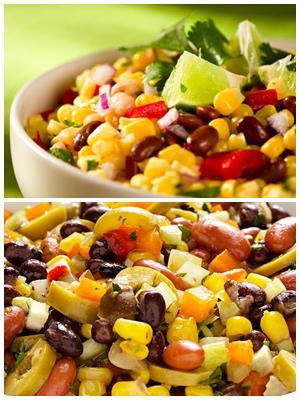 салат с консервированной фасолью и кукурузой