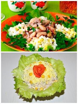 салат из фасоли с рыбными консервами