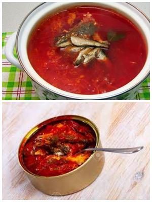 суп с красной фасолью и килькой в томатном соусе