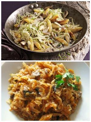капуста с грибами и фасолью