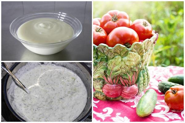 заправки для салатов из помидоров и огурцов на основе кисломолочных продуктов