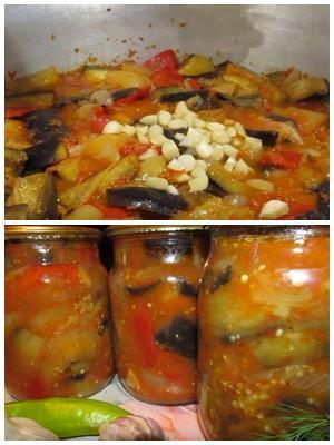 салат из баклажанов с перцем, чесноком и морковью на зиму