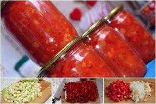 Read more about the article Нежный салат «Натали» из кабачков с помидорами и сладким перцем на зиму: классический рецепт и авторские вариации