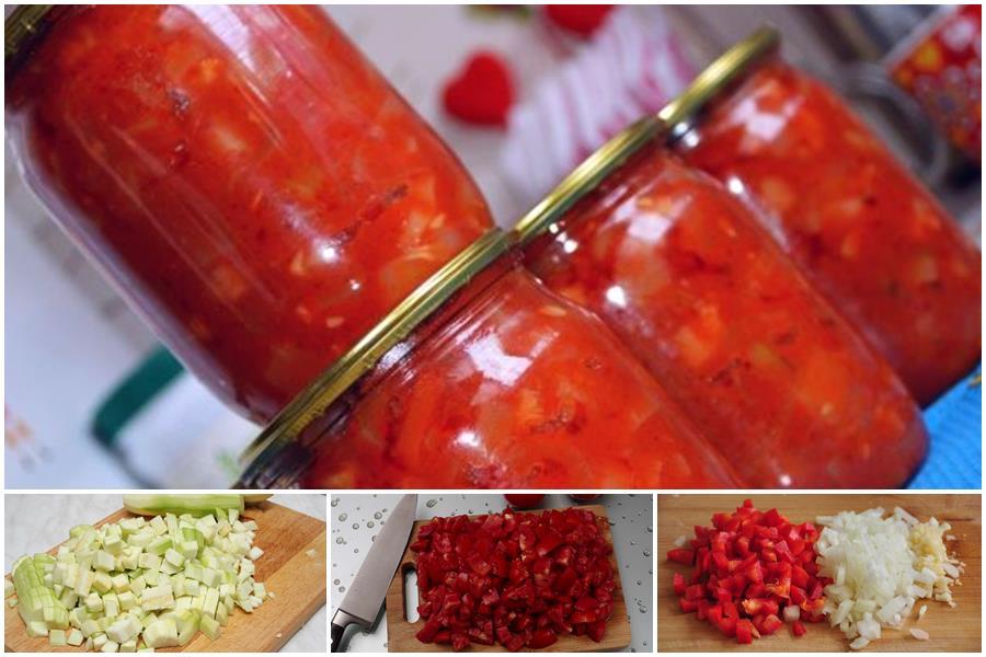 You are currently viewing Нежный салат «Натали» из кабачков с помидорами и сладким перцем на зиму: классический рецепт и авторские вариации