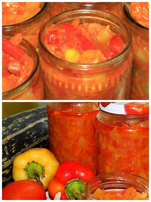 Анкл Бенс из кабачков с помидорами и перцем