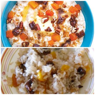 рисовая каша с орехами и сухофруктами